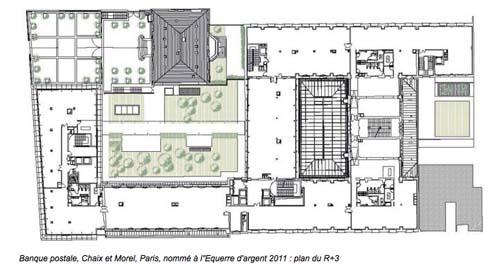 Le siège de la Banque postale : plan du R+ 3 _ On distingue le toit de l'hôtel de Choiseul-Praslin (en haut) et la verrière du hall en cœur d'ilôt