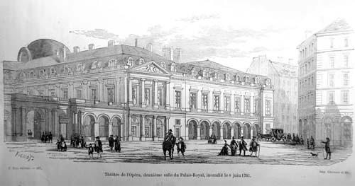 A gacuhe la cour de l'Horlige et à droite le théâtre de l'Opéra (détruit par un incendie en 1781)