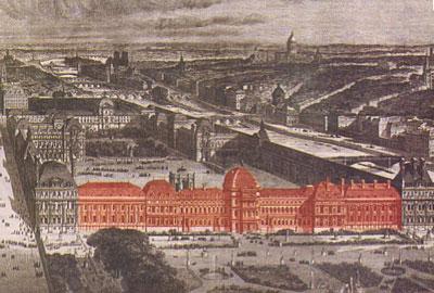 En rouge, la partie des Tuileries ayant disparu