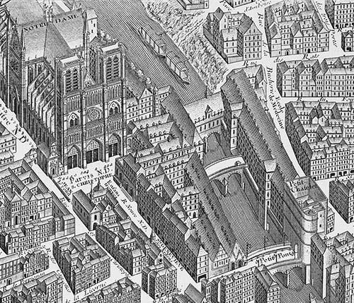 L'Hôtel-Dieu au XVIIIe siècle sur le plan de Turgot : l'établissement se situe sur le parvis de la cathédrale, le long du petit bras de la Seine (son nom est inscrit sur le bâtiment...),