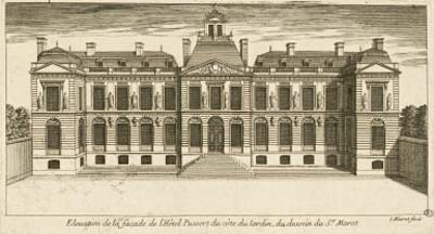 Elévation de la façade de l'hôtel Pussort - Façade coté jardin - Devenu hôtel de Noailles, il est abattu en 1830