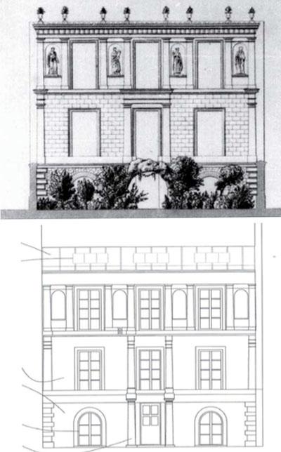 Le pavillon de Jacques-Ignace Hittorff - Façade sur le jardin, élévation.