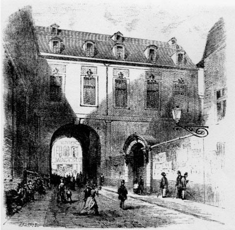L'hôtel de Nevers enjambe la rue Colbert (gravure ancienne)