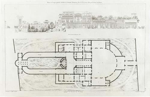 L'hôtel Thélusson - Plan du rez-de-jardin - A gauche, l'entrée par l'arc de triomphe - A droite, la cour demi-circulaire des communs