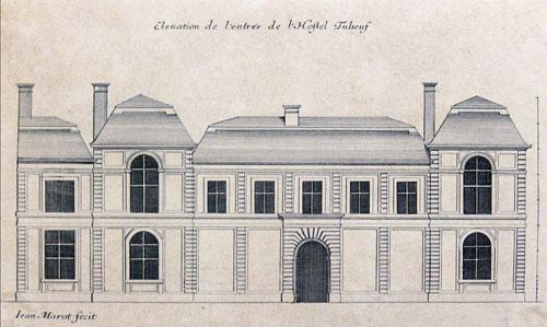 L'hôtel Colbert de Torcy (à l'origine hôtel Tubœuf) - Elévation de la façade sur rue