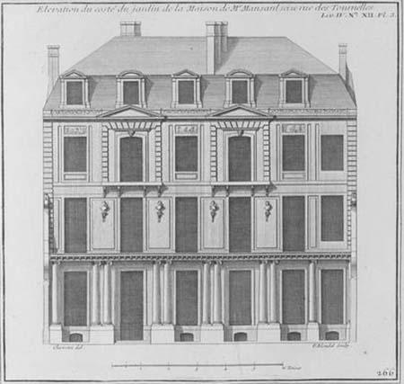 L'hôtel Mansart de Sagonne - La façade sur le jardin