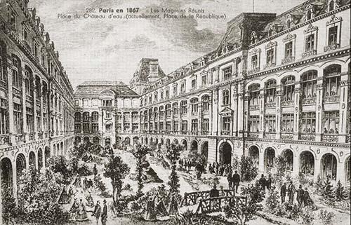Les Magasins Réunis en 1867 - Le bâtiment vient d'être achevé par Gabriel Davioud