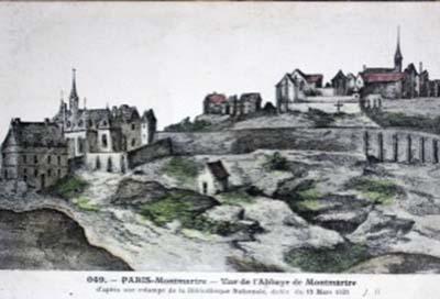 Montmartre : l'abbaye d'en bas à gauche, l'abbaye d'en haut à droite