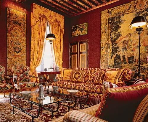 L'hôtel Passart - Le salon du 1er étage aux poutres peintes