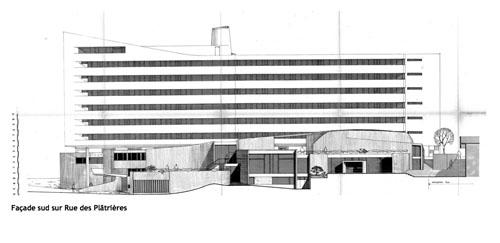 Le centre de logement de jeunes travailleurs Amandiers et l'équipement culturel - Façade Sud