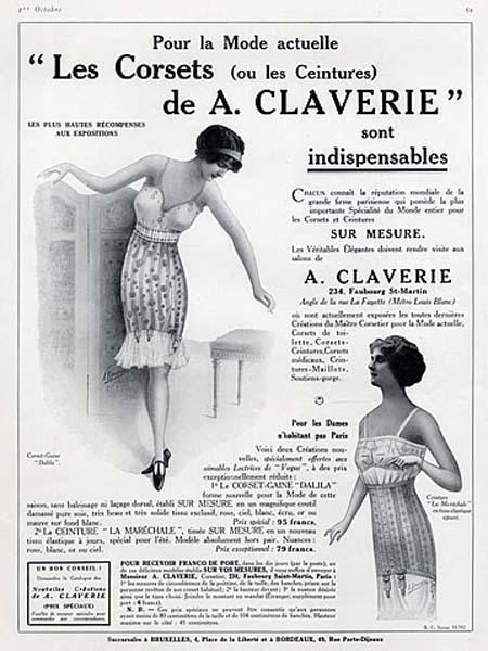Affiche publicitaire sur les corsets Claverie