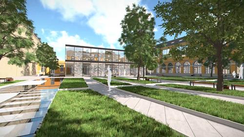 La cour Gribeauval : projet d'aménagement avec au fond le nouveau bâtiment dédié à la vie étudiante