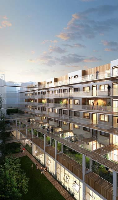 Immeuble Less - La façade sur le jardin