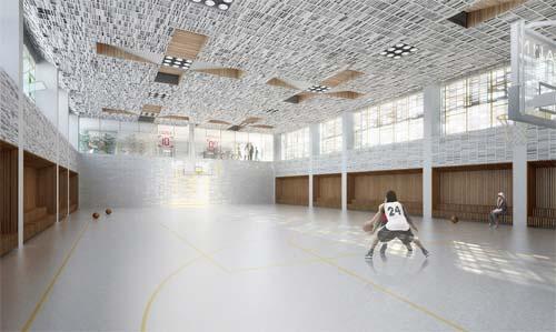 Immeuble Less - Le gymnase semi-enterré