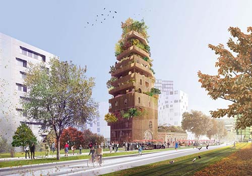 La nouvelle gare Massena : la tour recouverte de bois
