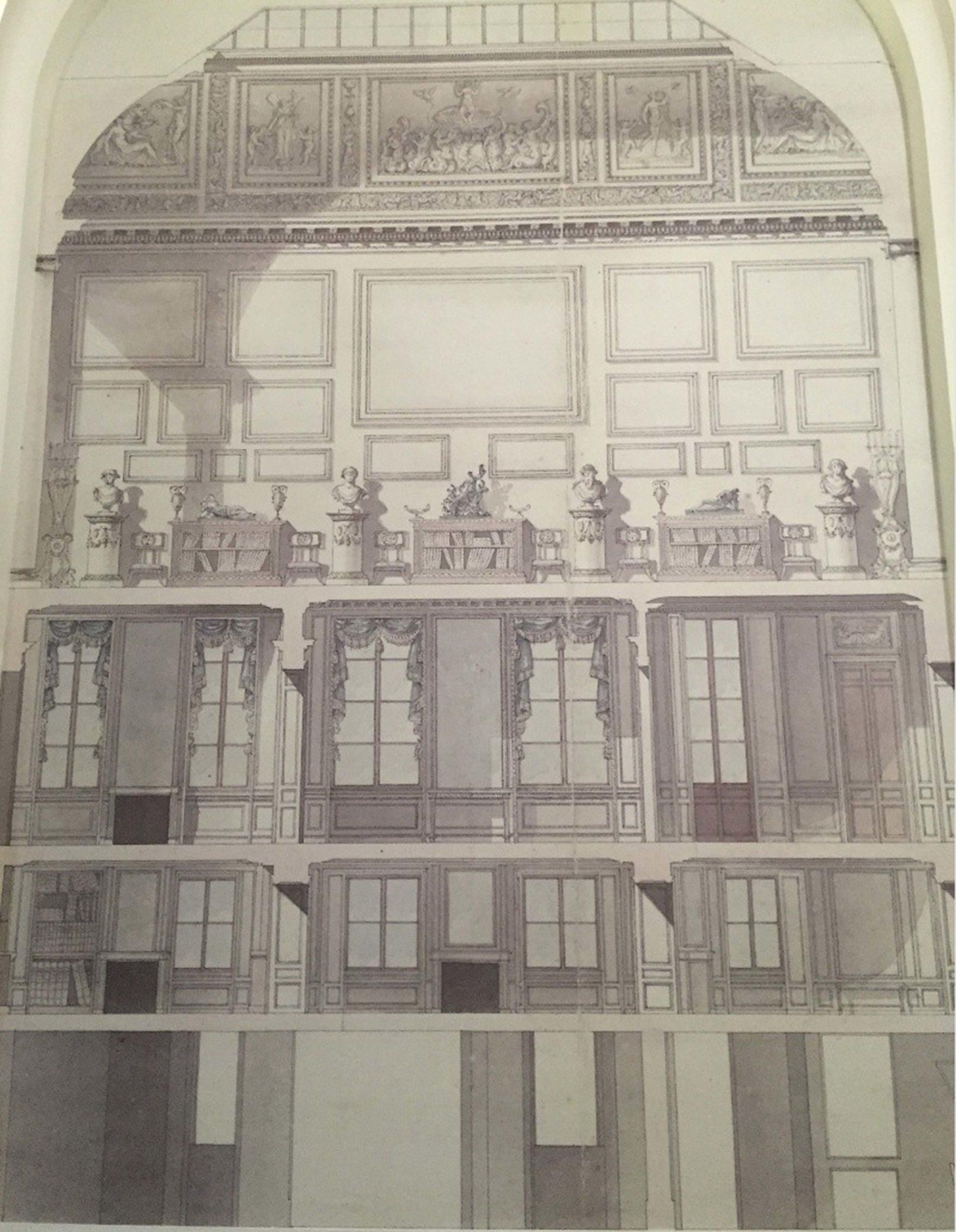 Coupe de l'hôtel Lebrun : rez-de-chaussée, entresol, appartement des lebrun au 1er étage et galerie-atelier de Mme Vigée-Lebrun au 2e étage