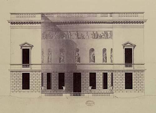 L'hôtel Lebrun - Elévation de la façade (en demi-cercle) sur le jardin