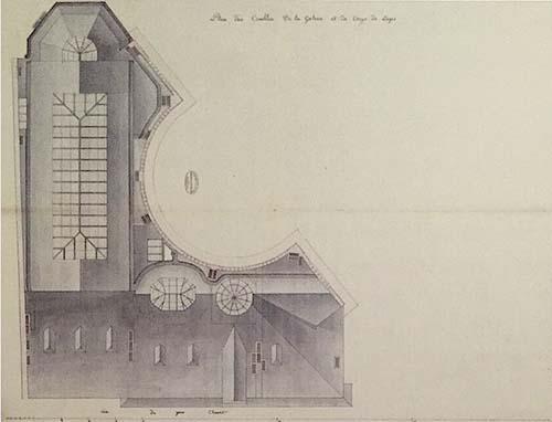 L'hôtel Lebrun - Plan des combles - Le demi-cercle correspond à la façade sur le jardin