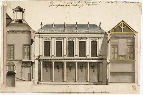 L'hôtel d'Evreux - Coupe montrant la façade du logis situé en fond de cour