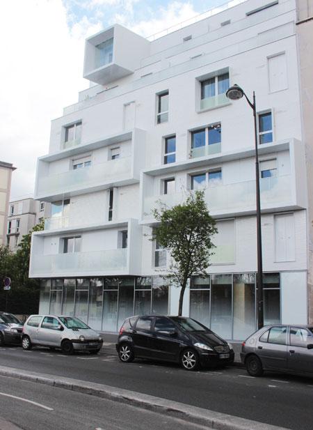 Logements sociaux rue d'Aubervilliers - Façade sur la rue d'Aubervilliers