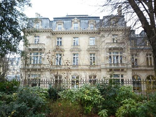 L'hôtel Abraham-Béhor de Camondo - La façade sur le jardin - Elle donne directement sur la parc Monceau.