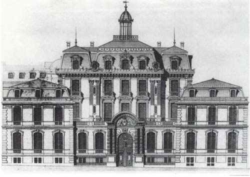 L'hôtel Abraham-Béhor de Camondo - Elévation de la façade donnant sur la cour, précédée du portail encadré de pavillons sur rue