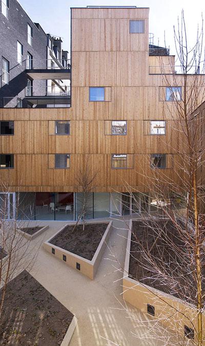 Résidence étudiante Pajol - L'une des façades donnant sur le jardin
