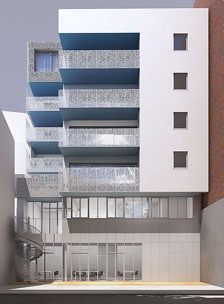Logements et bureaux Rue du docteur Roux - La façade sur cour