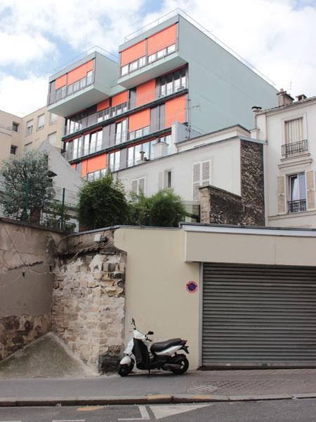 Immeuble de logements - Vue de la façade arrière depuis la rue Cantagrel
