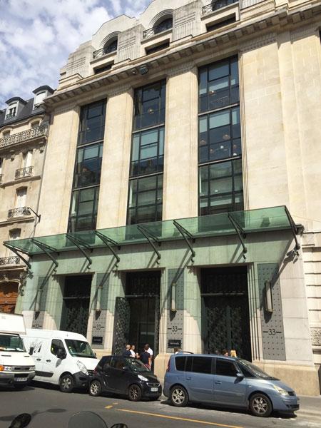 WeWork : la façade Art déco de l'immeuble