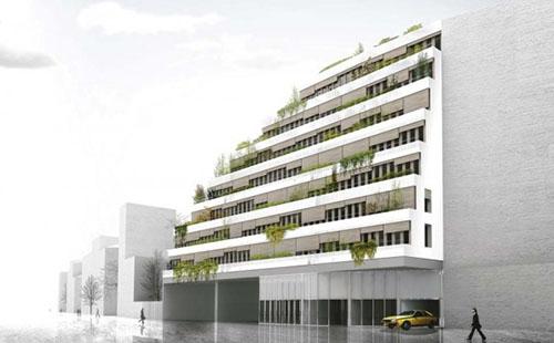 Les Ateliers Jourdan-Corentin-Issoire : l'immeuble à gradins rue du père Corentin