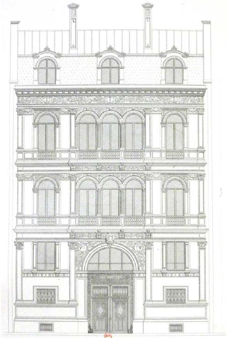 L'hôtel Soltykoff : dessin de la façade sur rue