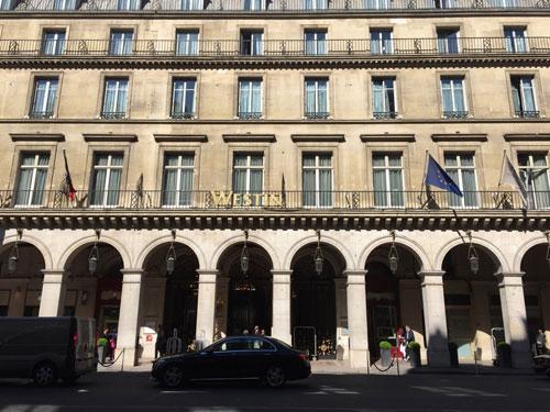Le Westin Paris Vendôme, ex l'Hôtel Continental : la façade sur la rue de Castiglione