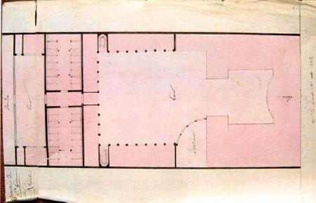 L'hôtel de Maillebois : plan du début du XIXe siècle. On voit très bien sur la gauche l'ancien logis reconstruit à usage d'écuries et remises
