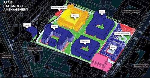 Le projet Saint-Vicent de Paul : axonométrie des bâtiments existants