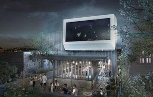 Projet de cinéma L'Etoile Voltaire : la terrasse sur le toit et son écran de projection en plein air