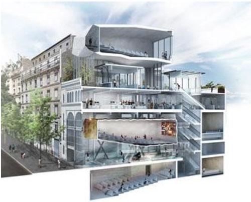Projet de cinéma L'Etoile Voltaire : coupe du bâtiment