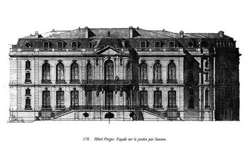 L'hôtel Porgès : élévation de la façade sur le jardin par Ernest Sanson