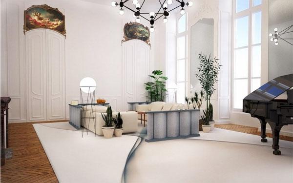 L'hôtel Cromot du Bourg : projet de décoration du grand salon. Les dessus de porte sont décorés de peintures d'après les grands peintres du XVIIIe siècle (Fragonard, Boucher, Chardin, Natoire)
