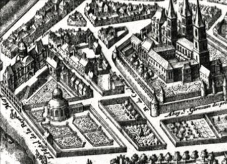 Le palais de la reine Marguerite (à gauche ) et la chapelle des Louanges (ronde) dans le jardin. A droite, l'abbaye Saint-Germain des Prés