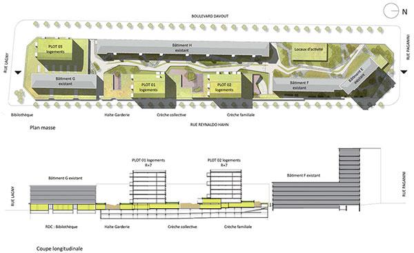 Plan masse : bâtiments existants en gris, nouveaux bâtiments en vert