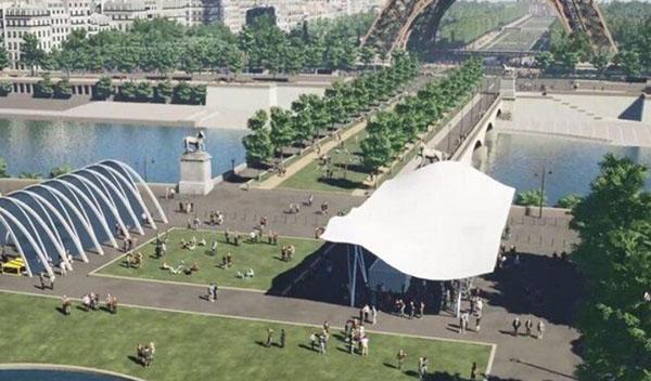 Le pont d'Iéna végétalisé et piétonier