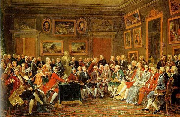 Lecture de la tragédie de Voltaire, l'Orphelin de la Chine, dans le salon de Mme Geoffrin en 1755. Anicet Charles Gabriel Lemonnier, 1812.