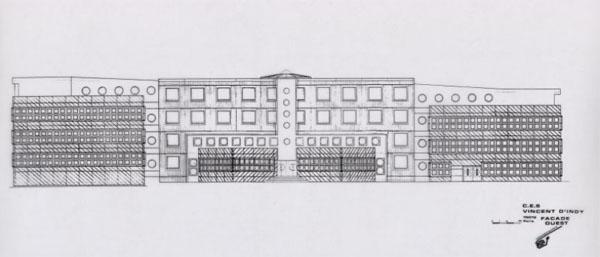le colllège Vincent d'Indy - elévation de la façade Ouest