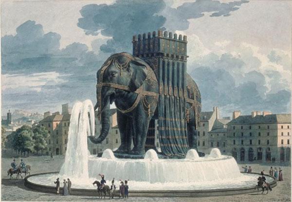 Dernier projet pour la fontaine de l'Eléphant - JA Alavoine - Musée du Louvre