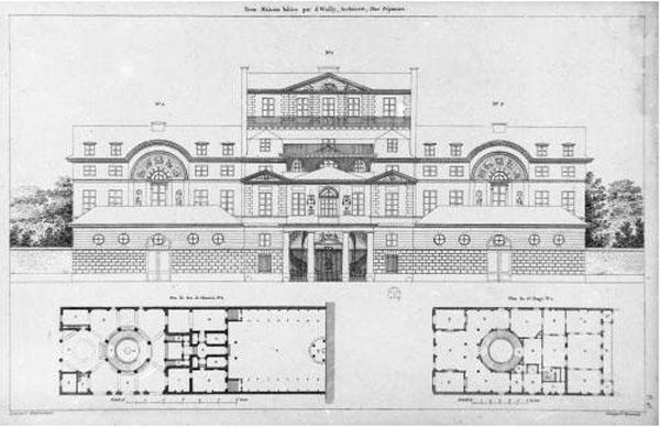 Trois maisons bâties par l'architecte Charles De Wailly, estampe de Charles-Nicolas Ransonnette
