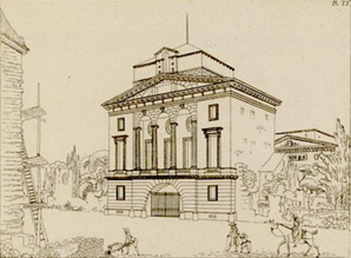 Perspective de l'hôtel Bélanger - Dessin de P-L van Cléemputte.