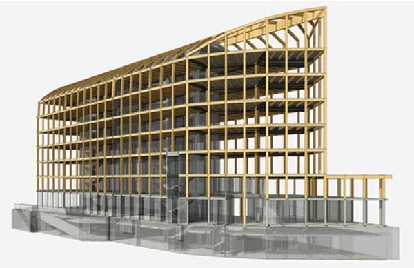 Le siège de l'Urssaf : le squelette bois de l'immeuble