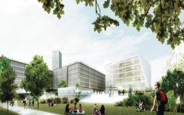 Paris Park : vue de la façade donnant sur le jardin du campus
